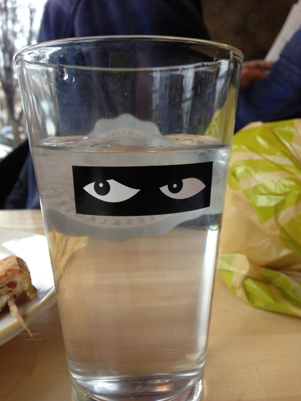eyes on glass