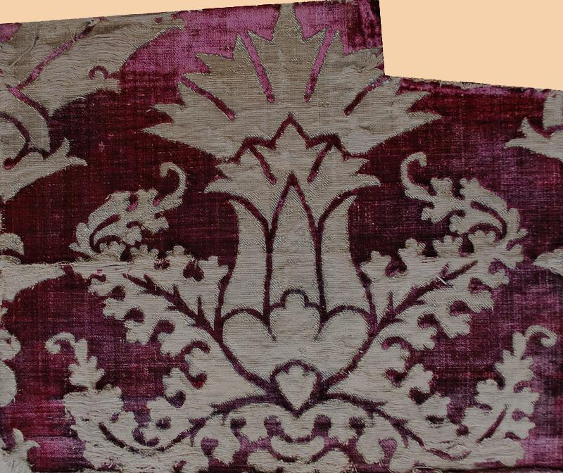 Antique Turkish velvet with silver thread ca 1453-1922