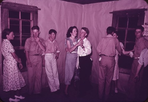 Couples at square dance in rural home, McIntosh County, Oklahoma   by russell lee 1939a