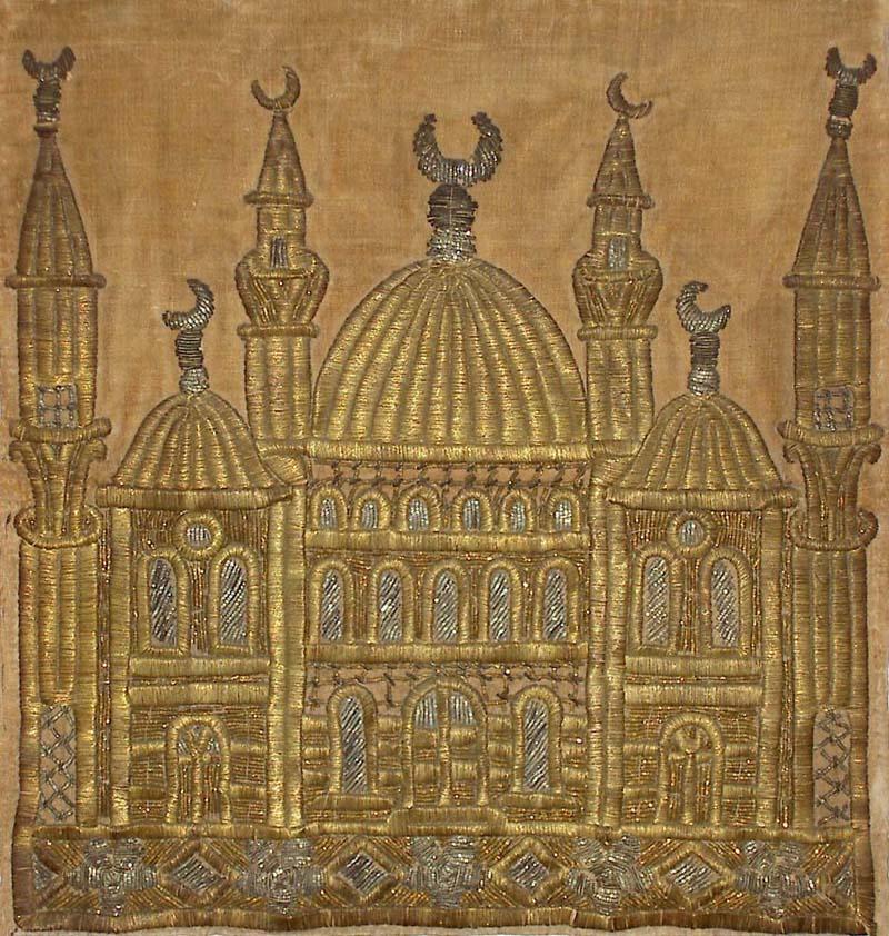 Ottoman Dynasty gold thread embroidery on velvet