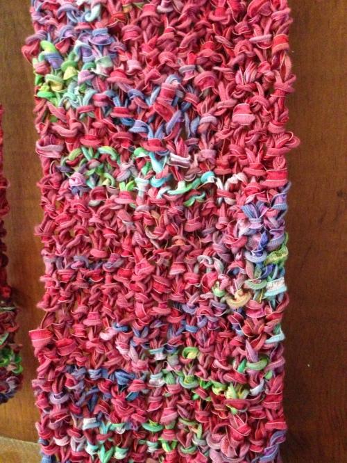 pink scarf close up