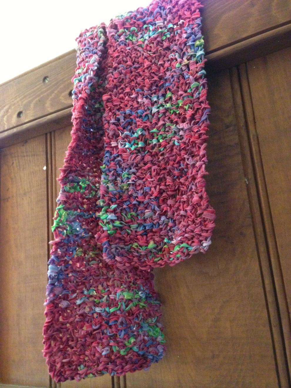 pink scarf over door