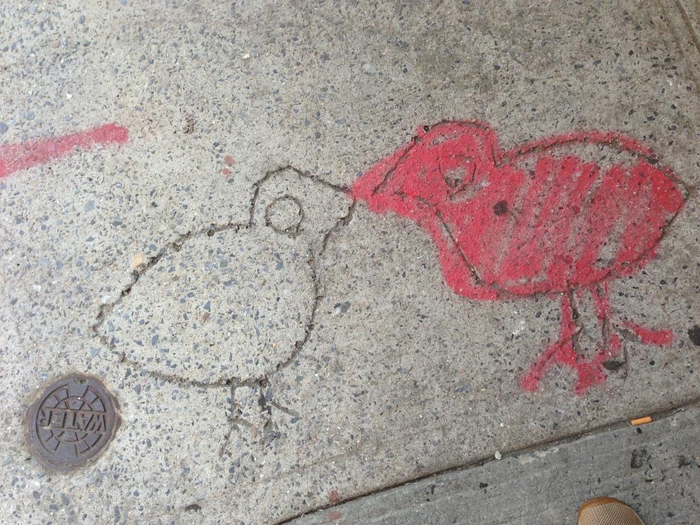 chick sidewalk art