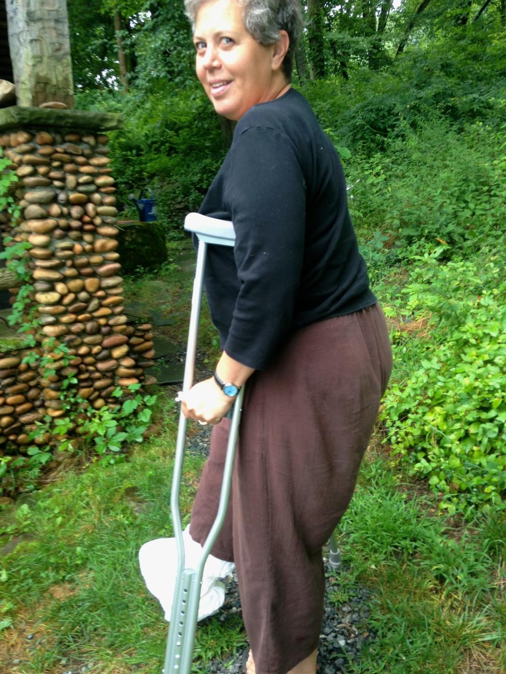 Jean on crutches