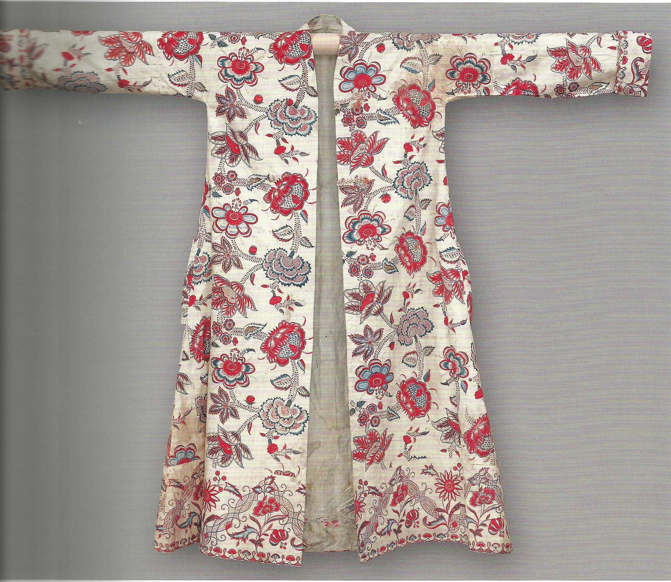 Herren robe de chambre/banyan aus indischen Stoffen, genäht in Frankreich, ca. 18. Jahrhundert