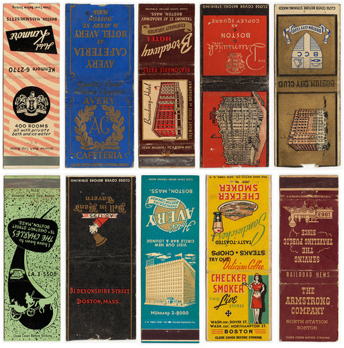 vintage Boston matchbook covers from the Boston Public Library