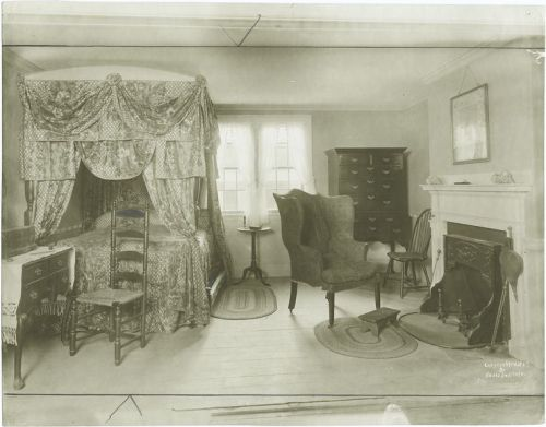 1800 New England bed w curtains and valance