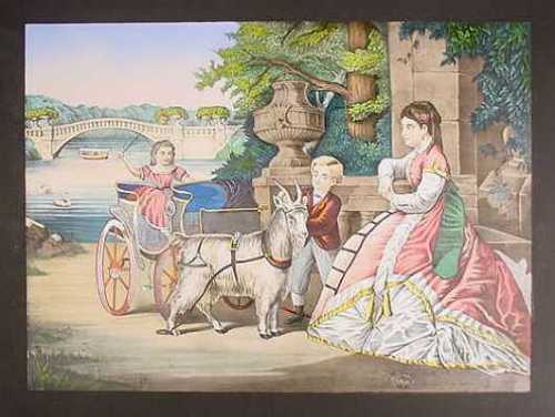 goatcart 1870 litho central park